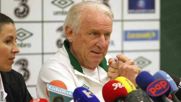 Giovanni Trapattoni is keeping his fingers crossed that his squad get some luck in Euro 2012