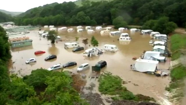 Flooded caravan site