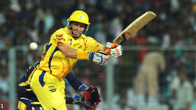 Mike Hussey in IPL action for the Chennai Super Kings last month