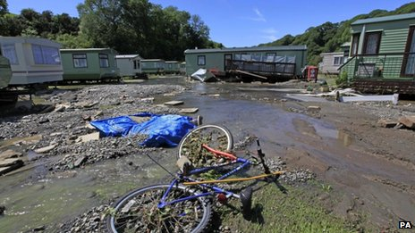 The trail of flood damage left at the Riverside Caravan Park