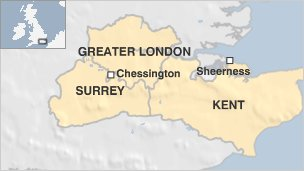 Map of the location of the fall in Surrey and Jessica's home in Kent