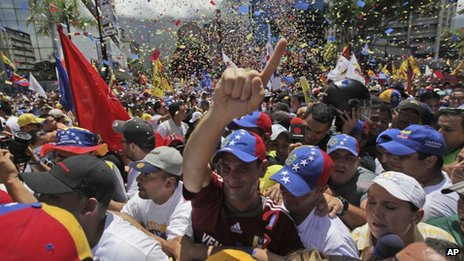 Henrique Capriles during a march in Caracas