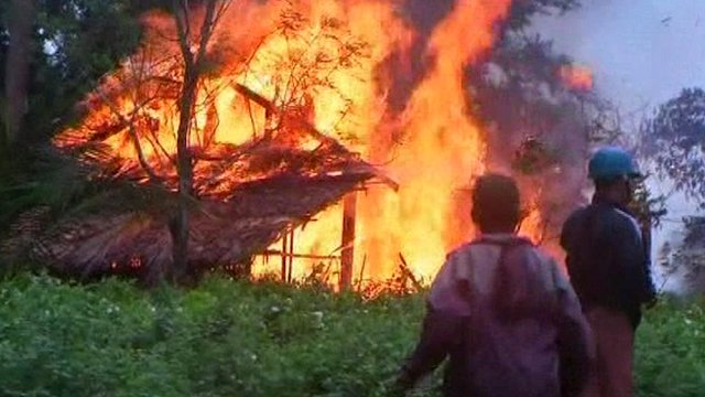 House on fire in Burma