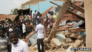 Ruins of church targeted by a suicide bombing in Jos