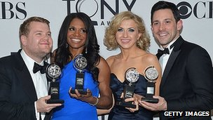 Tony Awards, from left, James Corden, Audra McDonald, Nina Arianda and Steve Kazee