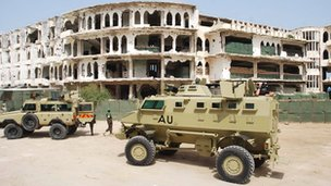AU vehicles in Mogadishu