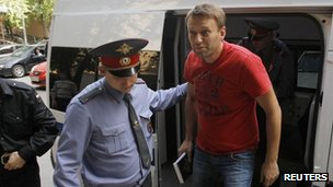 Russian opposition leader Alexei Navalny at court, 12 May 12