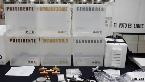Election materials displayed at a warehouse in Tepotzotlan, on the outskirts of Mexico City, 30 May 2012.