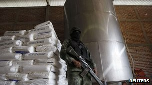 A soldier stands guard at a clandestine drug processing laboratory discovered in Zapotlanejo, on the outskirts of Guadalajara, in this 23 September 2011 file photo.