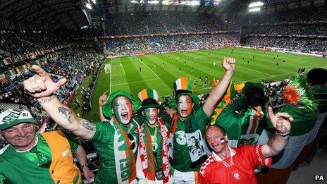 Ireland fans inside the stadium