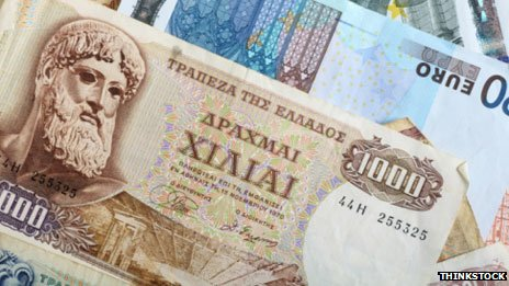 Drachmas and euros