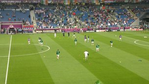 The Republic of Ireland players warm up inside the stadium