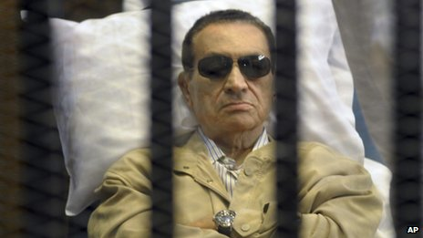 Hosni Mubarak on trial (file photo)