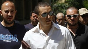 Ilias Kasidiaris arriving at an Athens court, 11 June 2012