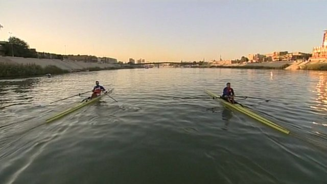 Iraqi rowers training for the Olympics on the River Tigris.