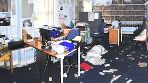 Flood damage inside Ystwyth Medical Centre in Aberystwyth