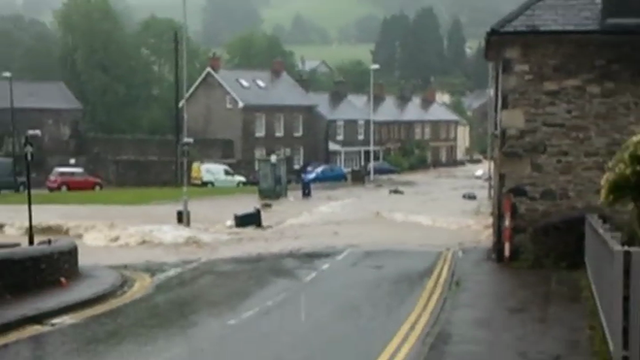 Resident's footage of flood water in Tal-y-bont