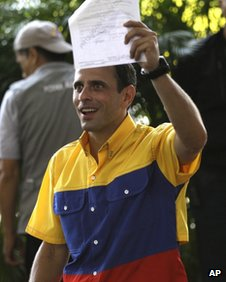 Henrique Capriles after registering his presidential bid in Caracas