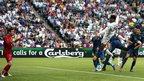 Joleon Lescott scores for England