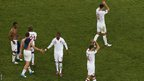 England players at the final whistle