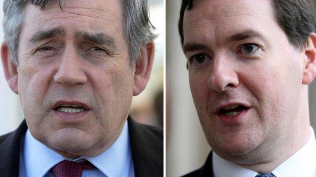 Former Prime Minister Gordon Brown and Chancellor George Osborne