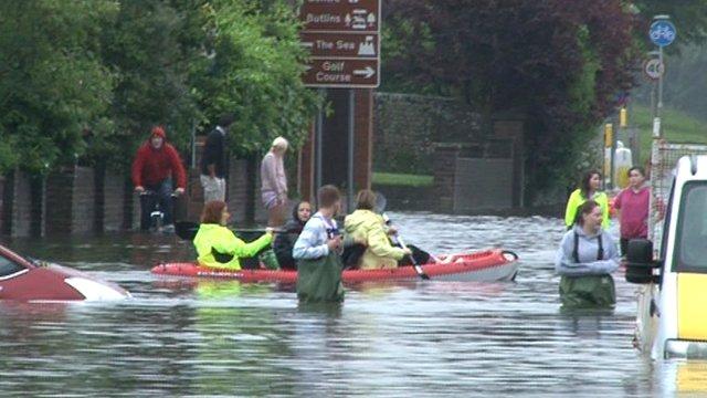 People in a canoe