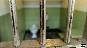 Worn bars in the cell block are seen at Alcatraz Island 11 August 2011