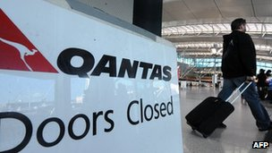 Sign showing Qantas strike