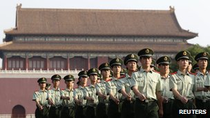 Paramilitary police officers in front of Duanmen Gate in Beijing