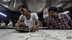 Workers at a factory in India