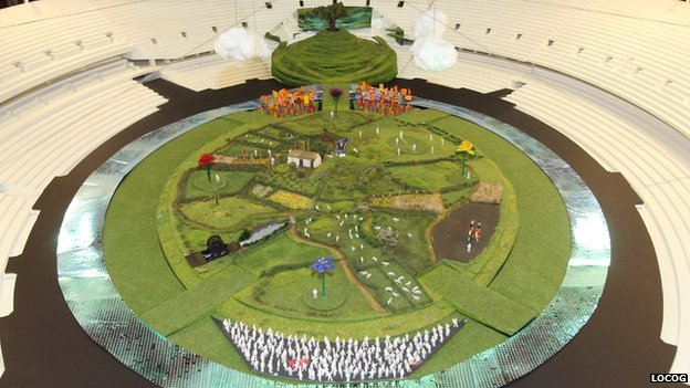 Model of set of Olympic opening ceremony