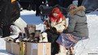 Nenets traders on the street in Salekhard