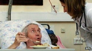 Elderly patient in hospital