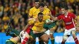 Australia prop Sekope Kepu carries the ball against Wales
