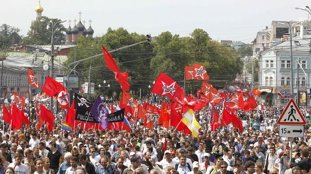 Protesters gather in Moscow