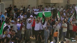 Activist-supplied image of funeral of victim of clashes with army in Deraa, Syria, 10 June