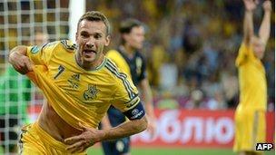 Ukraine goalscorer Andriy Shevchenko
