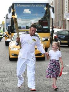 Torchbearer Ian Bishop with his daughter Aimee
