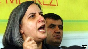 Deputy Chairwoman of the pro-Kurdish Peace and Democracy party, Gultan Kisanak, addresses a news conference in January 2012