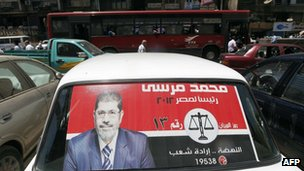 Poster for Mohammad Mursi in Cairo, file pic