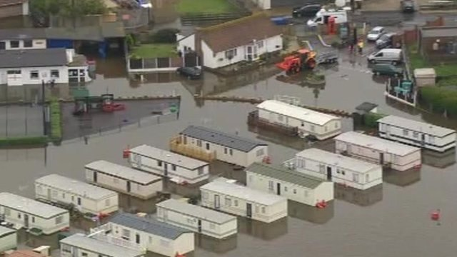 Flooded caravan park
