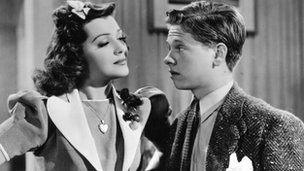 Ann Rutherford and Mickey Rooney in the Andy Hardy Series of films