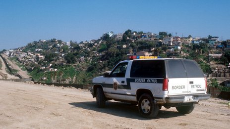 A border patrol van along the border between Tijuana, Mexico and San Diego, California file pic