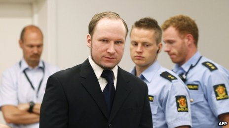 Anders Behring Breivik in court in Oslo, 12 June