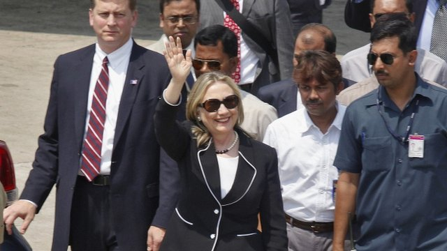 US Secretary of State Hillary Clinton on an earlier visit to India in May 2012