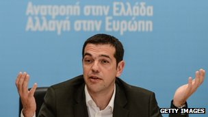 Greek leader of the Radical Left (Syriza) coalition, Alexis Tsipras