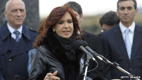 President Cristina Fernandez delivering a speech during a ceremony to mark the 30th Anniversary of the 1982 South Atlantic war