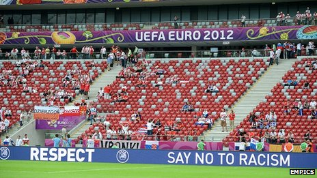 Uefa has 'Say No To Racism' signs inside stadiums