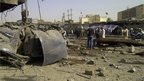 The aftermath of an explosion in Baghdad targeting Shia pilgrims
