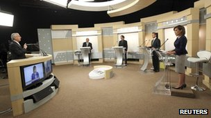 Right to left: Josefina Vazquez Mota (PAN, Enrique Pena Nieto (PRI), Gabriel Quadri de la Torre (PANAL), Andres Manuel Lopez Obrador (PRD) during second TV debate on 10 June